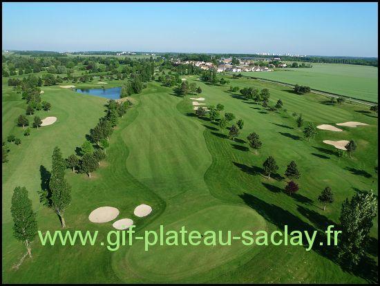 le golf avec les greens verts en été