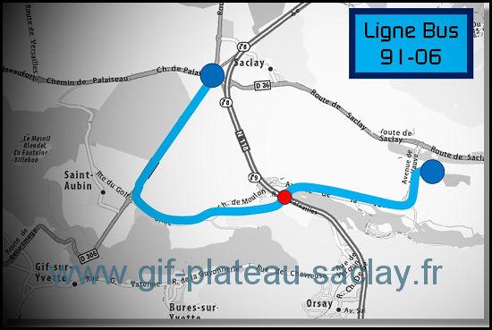 carte qui montre le trajet du bus 91 06 du christ de saclay à polytechnique