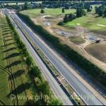 Photo aérienne travaux plateau de Saclay, à droite le Golf