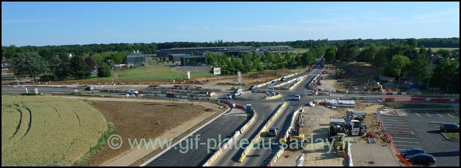 Photo aérienne du futur giratoire de St Aubin en travaux