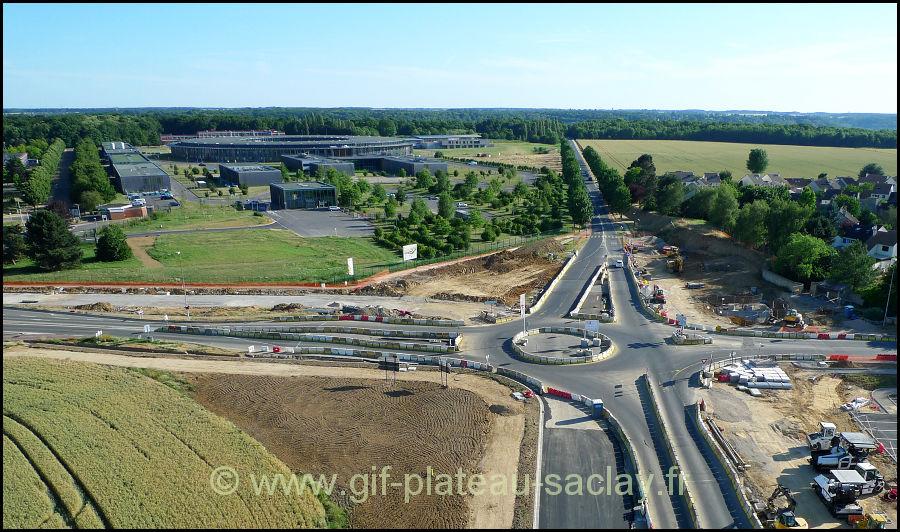 Photo aérienne du giratoire de St Aubin en travaux